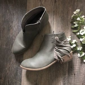 JG | Grey Faux Leather Fringed Booties